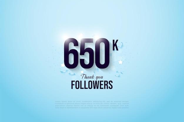 650.000 volgers met cijfers op een helderblauwe achtergrond