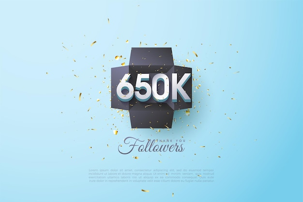 650.000 volgers met figuurillustratie in het midden van de geschenkdoos
