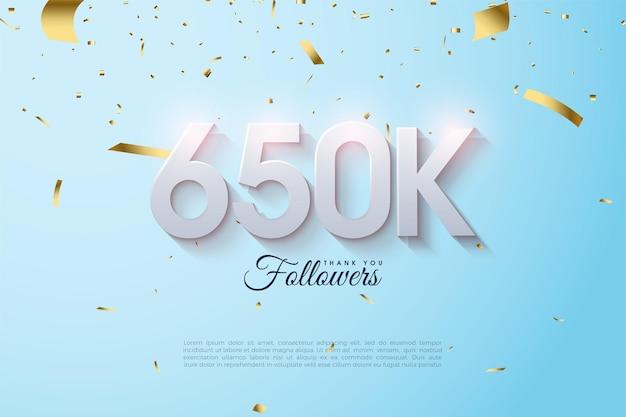 650.000 volgers met zachte numerieke textuur