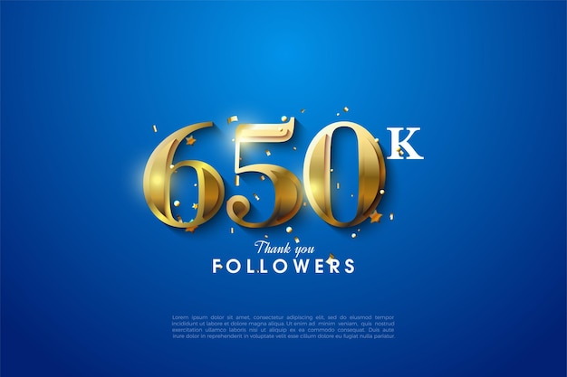 650k volgers achtergrondillustratie met gouden cijfers