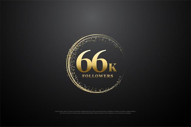66e verjaardag met nummers omgeven door goudkleurig zand