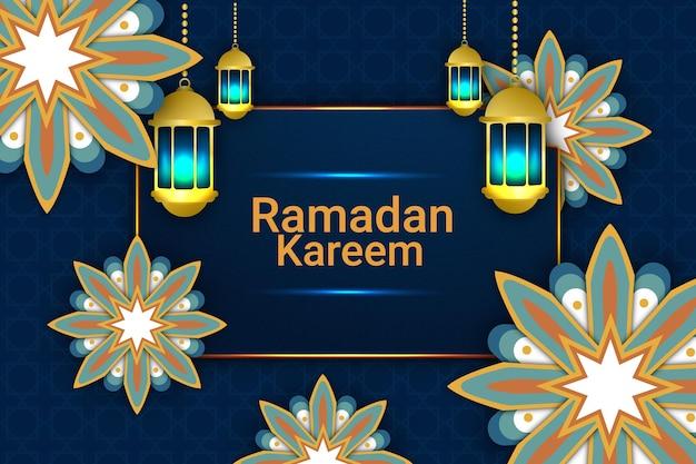 69 luxe ramadan kareem platte achtergrondkleur blauw en goud