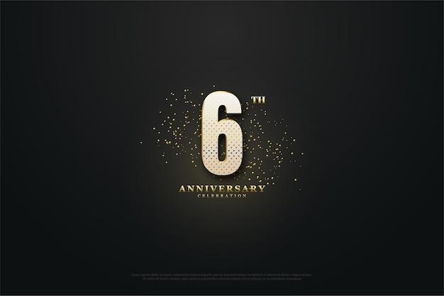 6e verjaardag achtergrond met gouden glitters