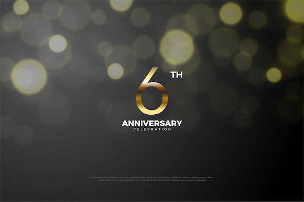 6e verjaardag achtergrond met licht en schaduw