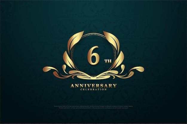 6e verjaardag achtergrond met nummer in het midden van een charmant symbool