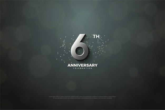 6e verjaardag achtergrond met zilveren nummer