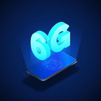 6g snel mobiel netwerk. mobiele telefoon met internetverbinding op scherm. technische achtergrond.