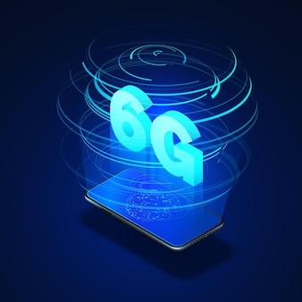 6g snelle mobiele netwerken. mobiele telefoon met wereldwijd netwerk op scherm en hologram van draadloze netwerken met isometrische tekst 6g erin.