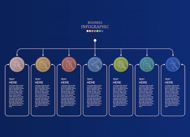 7 basisgegevensinfographics en pictogrammen voor bedrijfsconcept.