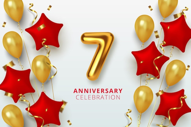 7 jubileumnummer in de vormster van gouden en rode ballonnen. realistische 3d-gouden cijfers en sprankelende confetti, serpentine.