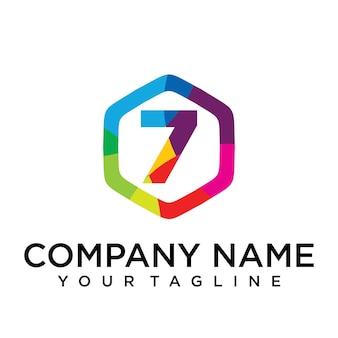 7 letter logo icon zeshoek ontwerpsjabloon element
