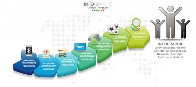 7 onderdelen infographic ontwerp- en marketingpictogrammen kunnen worden gebruikt voor de werkstroomlay-out