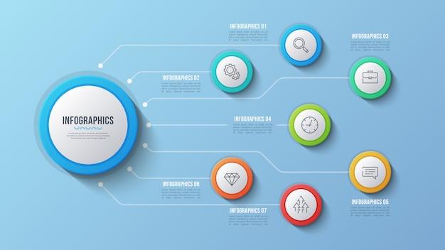 7 opties infographic ontwerp, structuurgrafiek, presentati