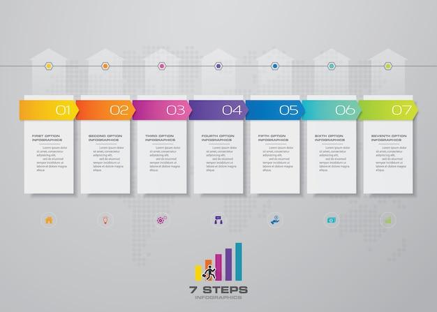 7 stappen van pijltijdlijn infografics sjabloongrafiek.