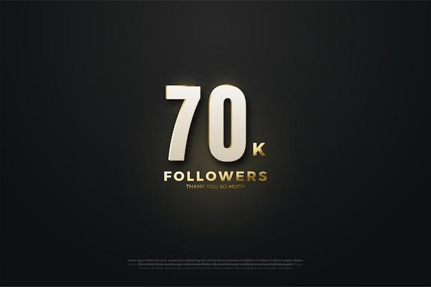 70.000 volgers met cijfers en een zwarte achtergrond die in het midden oplicht