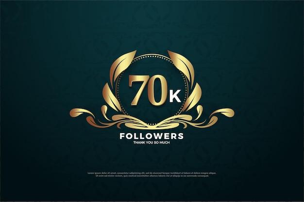 70.000 volgers met unieke cijfers en logo's op een zwarte en gestructureerde achtergrond