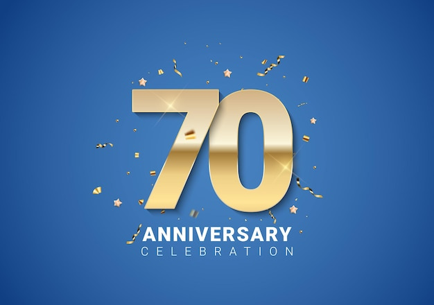 70 anivversary achtergrond met gouden cijfers, confetti, sterren op heldere blauwe achtergrond. vectorillustratie eps10