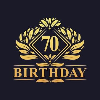 70 jaar verjaardagslogo, luxe gouden 70e verjaardagsviering.