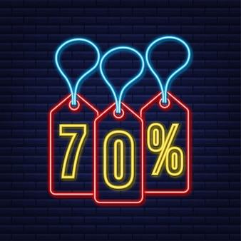 70 procent korting verkoop korting neon tag kortingsaanbieding prijskaartje 70 procent kortingspromotie