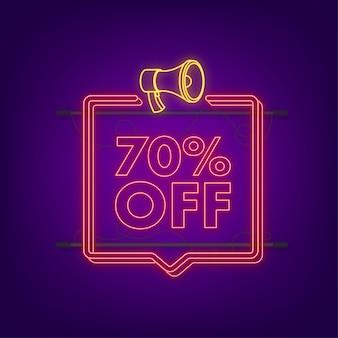 70 procent korting verkoop korting neonbanner met megafoon. korting aanbieding prijskaartje. 70 procent korting promotie platte icoon met lange schaduw. vector illustratie.