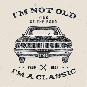 70 verjaardag verjaardag geschenkbrochure. ik ben niet oud, ik ben klassiek, king of the road-woorden met klassieke auto.