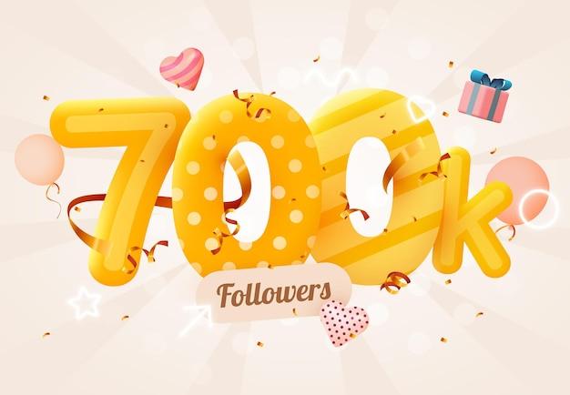 700.000 of 700.000 volgers bedankt roze hart, gouden confetti en neonreclames.