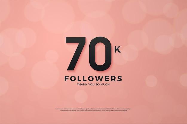 70k volgers achtergrond met 3d-nummers op roze achtergrond