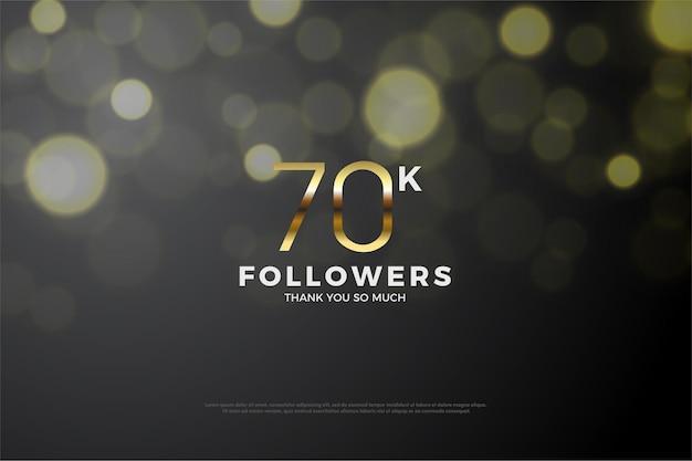 70k volgers achtergrond met gouden cijfers en zwarte achtergrond voor gloeiend water effect