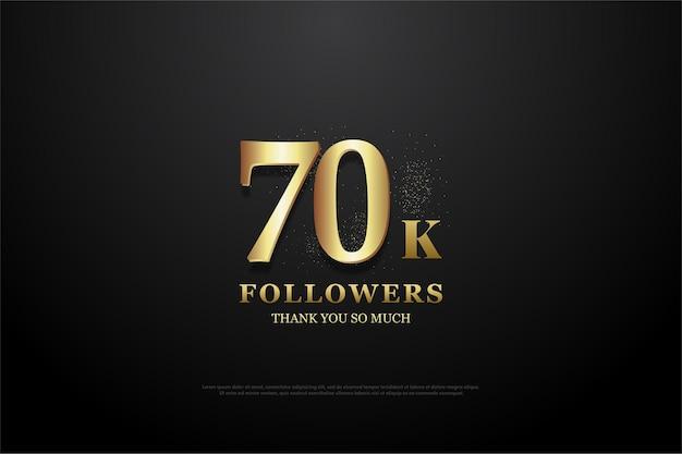 70k volgers met heldere gouden cijfers