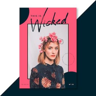 70s stijl esthetische vrouw met bloemen poster