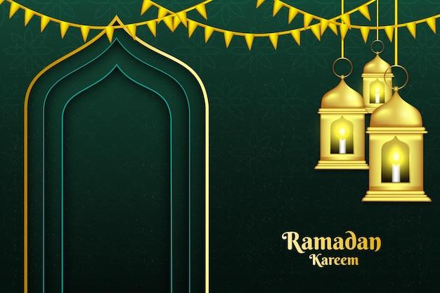 73 ramadan kareem gouden lantaarn achtergrondkleur goud en paars