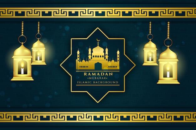 76 ramadan kareem lantaarn achtergrondkleur rood en golf