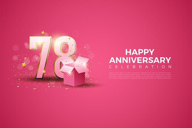 78e verjaardag met cijfers en illustratie van de geschenkdoos