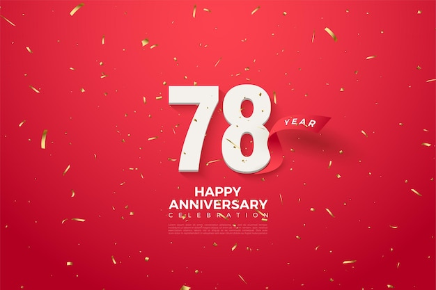 78e verjaardag met cijfers en rood lint