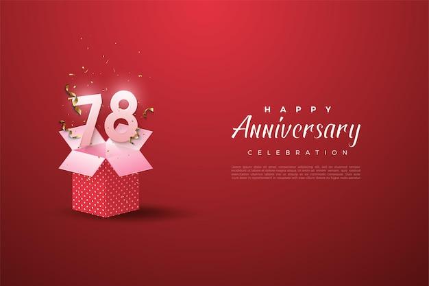 78e verjaardag met nummers op een geopende geschenkdoos