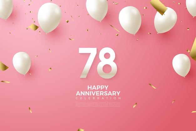 78e verjaardag met witte cijfers en ballonnen