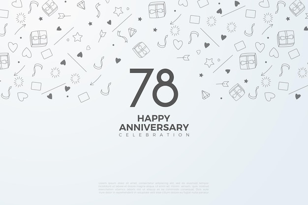 78e verjaardag met zwart op witte cijfers