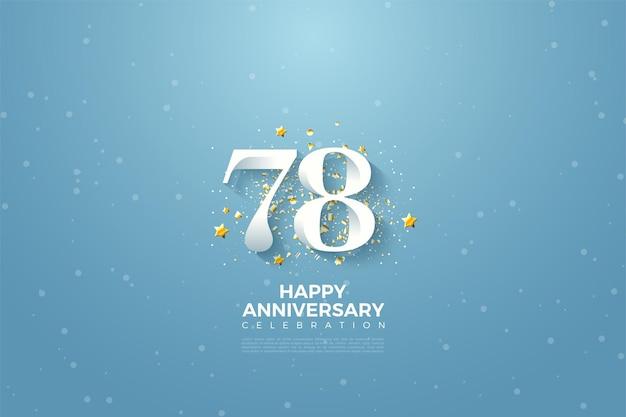 78ste verjaardag met blauwe hemelachtergrondillustratie