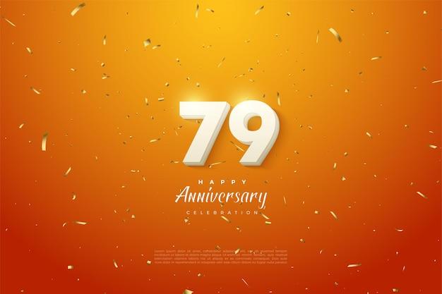 79-jarig jubileum met witte cijfers op oranje achtergrond