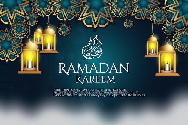 79 luxe ramadan kareem lantaarn achtergrondkleur blauw en goud
