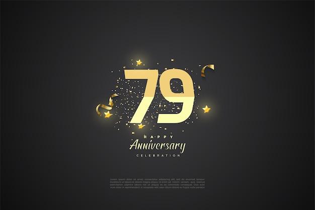 79e verjaardag achtergrond met gegradeerde nummers
