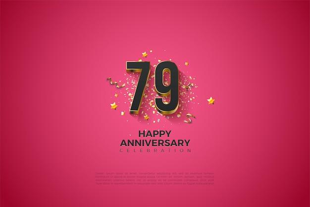 79e verjaardag achtergrond met massief vergulde cijfers