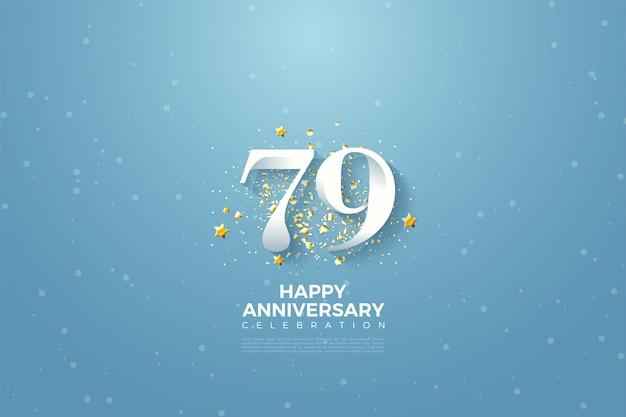 79e verjaardag met hemelachtergrondillustratie