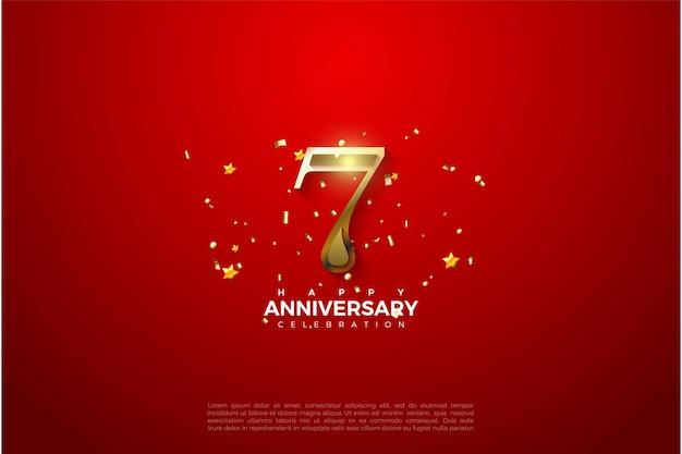 7e verjaardag met 3d-gouden cijfers.