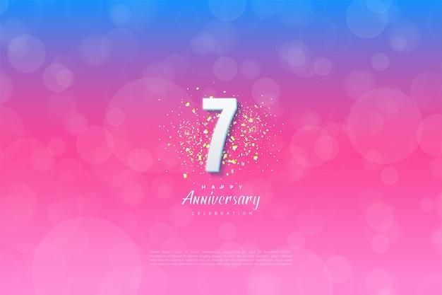 7e verjaardag met achtergrondkleur van blauw naar roze.