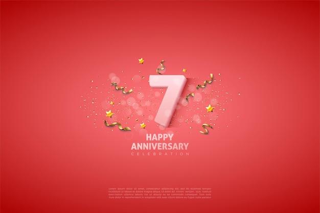 7e verjaardag met cijfers bedekt met lichte stippen.