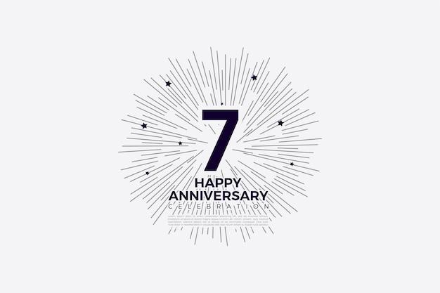 7e verjaardag met cijfers en lijntekeningen