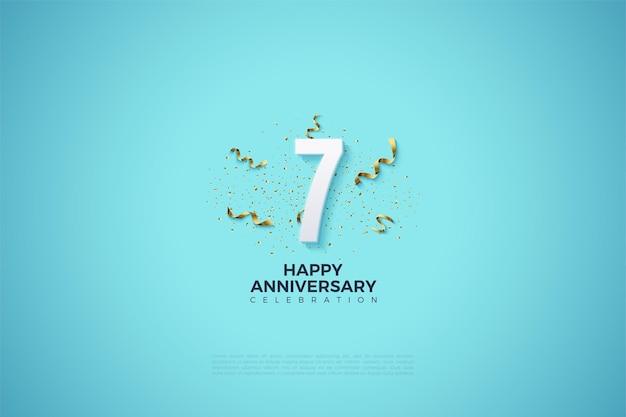7e verjaardag met cijfers te midden van de festiviteiten van het feest.