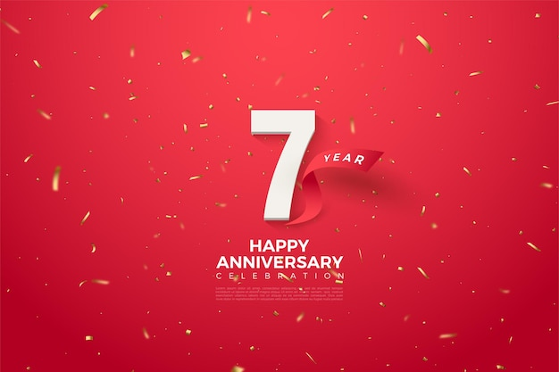 7e verjaardag met een gebogen rood lint achter de cijfers.