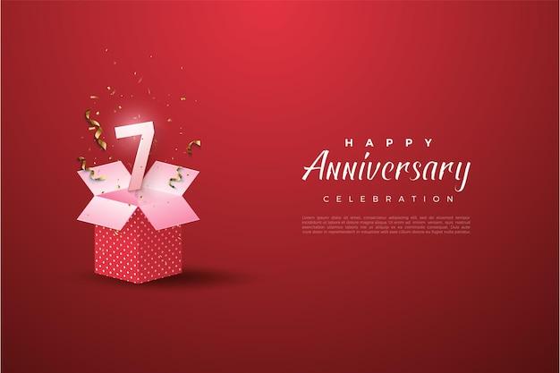 7e verjaardag met een nummerillustratie op een open geschenkdoos.